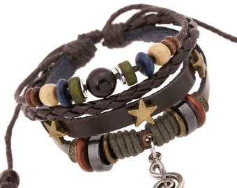 Vintage Leather Braided Cuff Braclet Musician