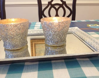 Silver glitter candle holders set of 2
