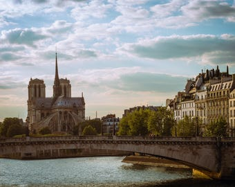 Print of Notre Dame Cathedral at Sunset