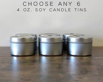 Choose Any 6 Soy Candles Sampler Pack, 4 oz Soy Candle Tins, Soy Wax Candles, Scented Candles, Soy Candles Handmade, Modern Farmhouse Decor