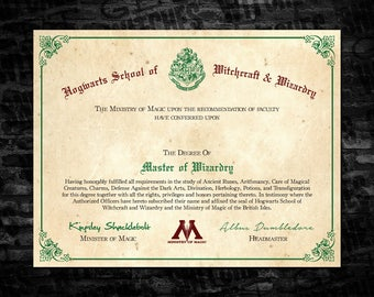 Hogwarts Master of Wizardry Printable Diploma, Blank Hogwarts Printable Diploma, Blank Hogwarts Printable Parchment Diploma