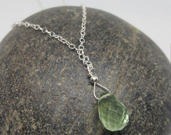 Sterling Silver Tear Drop Pendant Necklace