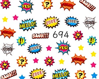 Water nail stickers,decals - pop art nails, manicure no.694