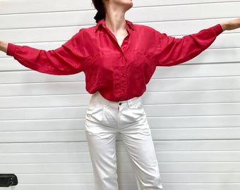 Oversized pink silk blouse / long sleeve / s / m / raspberry button down shirt / 1980s