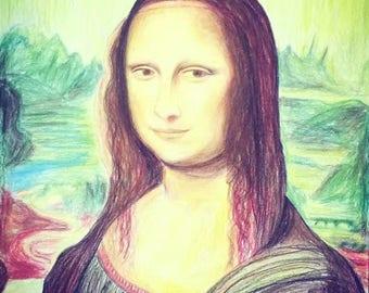 Mona Lisa in color pencil