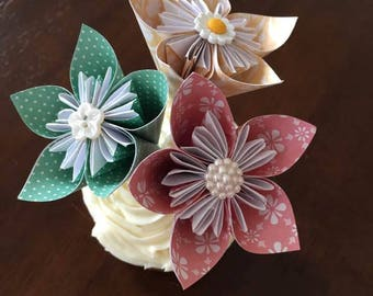 Large Origami Flower Cupcake Toppers