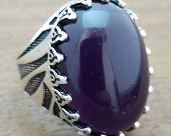 Handmade Silver Mens Ring With Cz Amethyst Stone