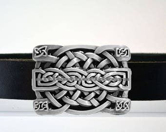 Leather Belt with Trinity Knots Black Silver Buckle