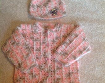 Crochet pink infant, baby sweater and hat with elephant accent