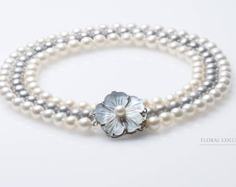 3 Row Pearl Necklace with Flower Clasp