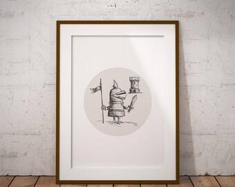 AUF Verkauf - mutige Ritter Printable Kunst - Wand-Kunst - Wand-Dekor - HAND Morgendämmerung