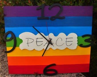 """Oologio handpainted wooden """"PEACE FLAG"""""""