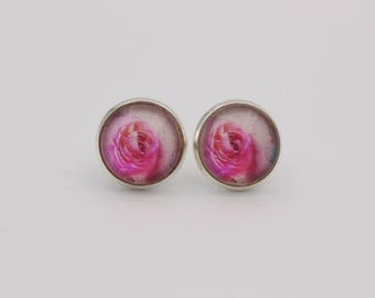 Cabochon earrings pink rose