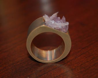 Amethyst Silver Banded Ring