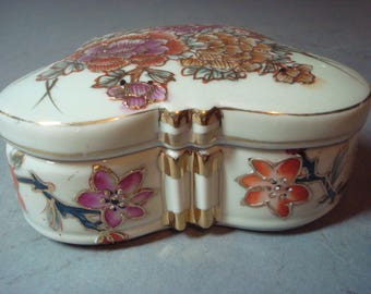 Asian porcelain butterfly trinket box