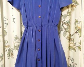 Leslie Fay Blue Vintage Shirt Dress