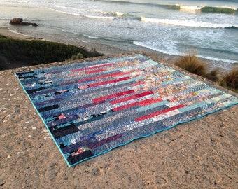 Teal and Crimson Kimono Silk Quilt ~13~