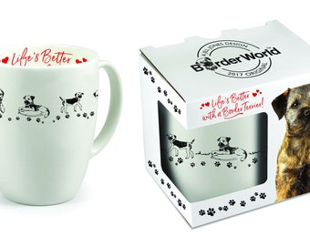 White China mug with Border Terrier design in presentation gift box
