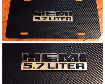 Dodge Mopar Hemi 5.7 Challenger 3D License Plate Custom New Aluminum Black & Chrome Ram Challenger Charger Mopar Cuda SRT8 Hemi Carbon Fiber