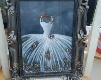 Beautiful delicate wedding/prom/ballet dress painting.