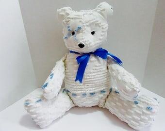 Handmade Vintage chenille teddy bear- Hugs and Kisses