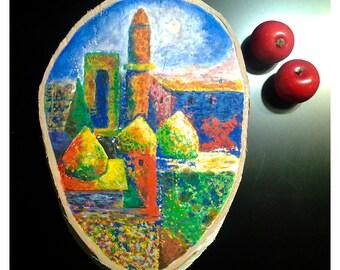 Baku Shirvansheikh Palace - art painting, wood slice art, painting original, Hand Painted Wood Slice