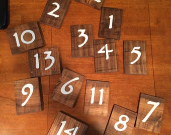 Pallet wood wedding table numbers