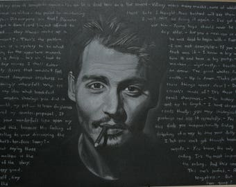 Johnny Depp with qoutes drawing