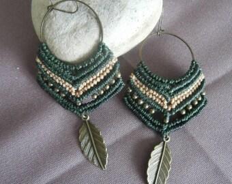 Earrings green macrame