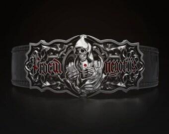 "Men's Enamel Belt & Buckle ""The Procul Negotiis"". Gothic style.Master craftsmanship"