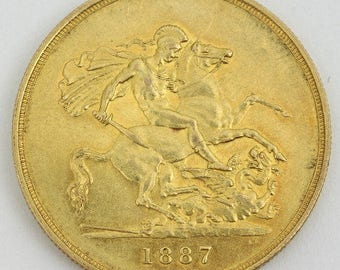 1887 Victorian Jubilee head 5Lb gold coin