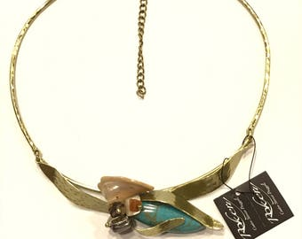 Brass necklace bathed in gold 80000496