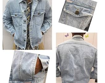 VTG 80s Mens Light Denim Button Front Jean Jacket GUESS Sz Medium