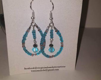 Light blue tear drop earrings