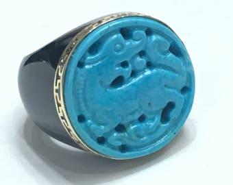 14K Yellow gold Charcoal Jade Ring