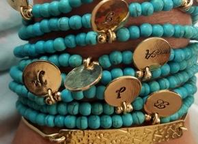 Turquoise Beaded Bracelet, December Birthstone, Personalized Bracelet, Initial Charm, Beaded Bracelets, Anniversary Gift, Turquoise Jewelry