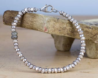 STERLING SILVER Bracelet, Thai Silver beaded bracelet, Hill Tribe Silver, Silver bracelet, Symbolic Jewelry, Silver Bracelet, Labradorite