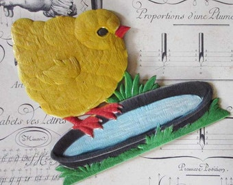 Vintage Germany Large Pressed Cardboard Paper Easter Chick Decoration 1950s