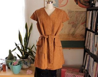 vintage suede tunic vest wrap jacket with cap sleeves, sash belt waist . hippie 1960s 70s suede jacket . womens medium large