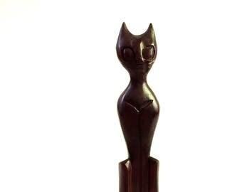 vintage carved wood cat figure . dark wooden cat statue, hand carved primitive . mid century cat decor