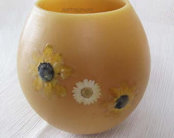 Beeswax Lantern,Daisy Flowers, Wax Luminary, Bees Wax Globe, Handmade in Colorado, Unique Nature Gift, Colorado Beeswax, Hurricane Gift
