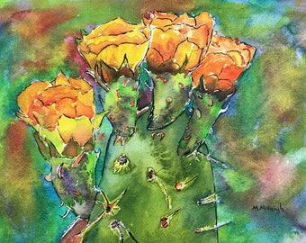 Cactus Flower original watercolor painting