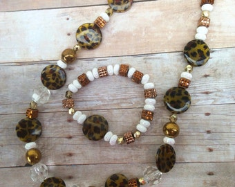 Leopard print, brown, gold, white, glass beads, sparkle beads, necklace, bracelet, jewelry set, birthday, wedding, Mothers Day, gift