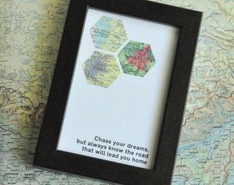 College Dorm Decor Gift Map Art Custom Framed Geometric Hexagon Recycled