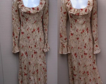 Vintage Tan and Red Floral Bias Cut Sweetheart Dress / 90s Tea Party Sheer / Size Sml