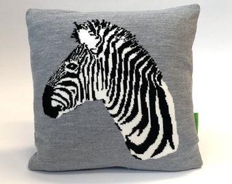 Stubborn Charles the Zebra Pillow - Knitted Cushion