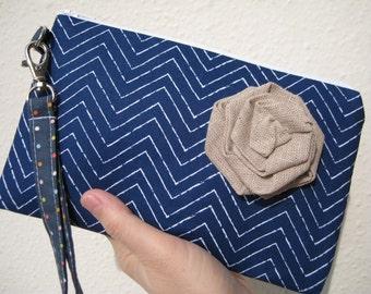 Wedding Clutch 2 pockets, medium, navy,chevron,discount plan set, cotton, wristlet - Chevron