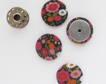25mm Floral Fabric Cabochon | Four 1 inch button tops to use for scrapbooking embellishments, hair clips, textile jewelry, or magnets.