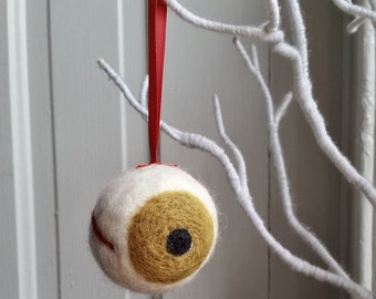 SALE 30% OFF - Hazel Brown Eyeball Ornament - Funny Christmas - Eye - Optometrist Gift