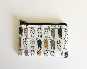 mini zipper pouch  - cats on clothesline(off white)